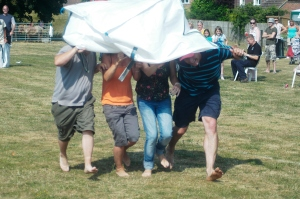 Sack race or sunshade